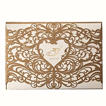WISHMADE 50 Gold Laser Cut Wedding Invitations Cardstock Kit With Envelope Printable Birthday Party Invites