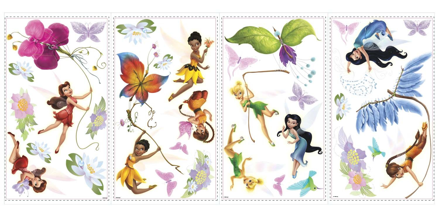Amazon Roommates Rmk1493Scs Disney Fairies Wall Decals With Glitter Wings Home Improvement