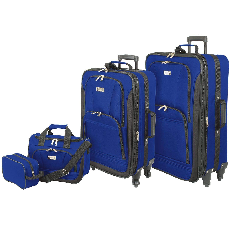 Geoffrey Beene Spinner Wheel 4-Piece Luggage Set In Blue