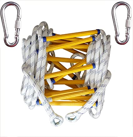 Easy to Deploy Security Escape Ladder Fire Escape Ladder with Hook Carabiner Portable Emergency Escape Ladder