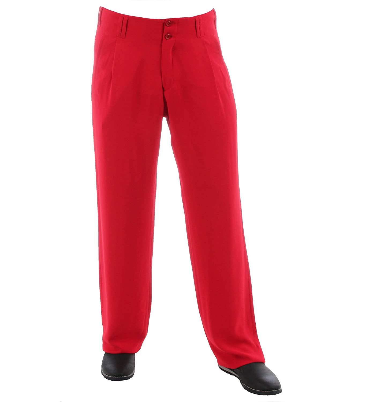 H.K.Mandel Men's Pleat-Front Plain Trousers red red