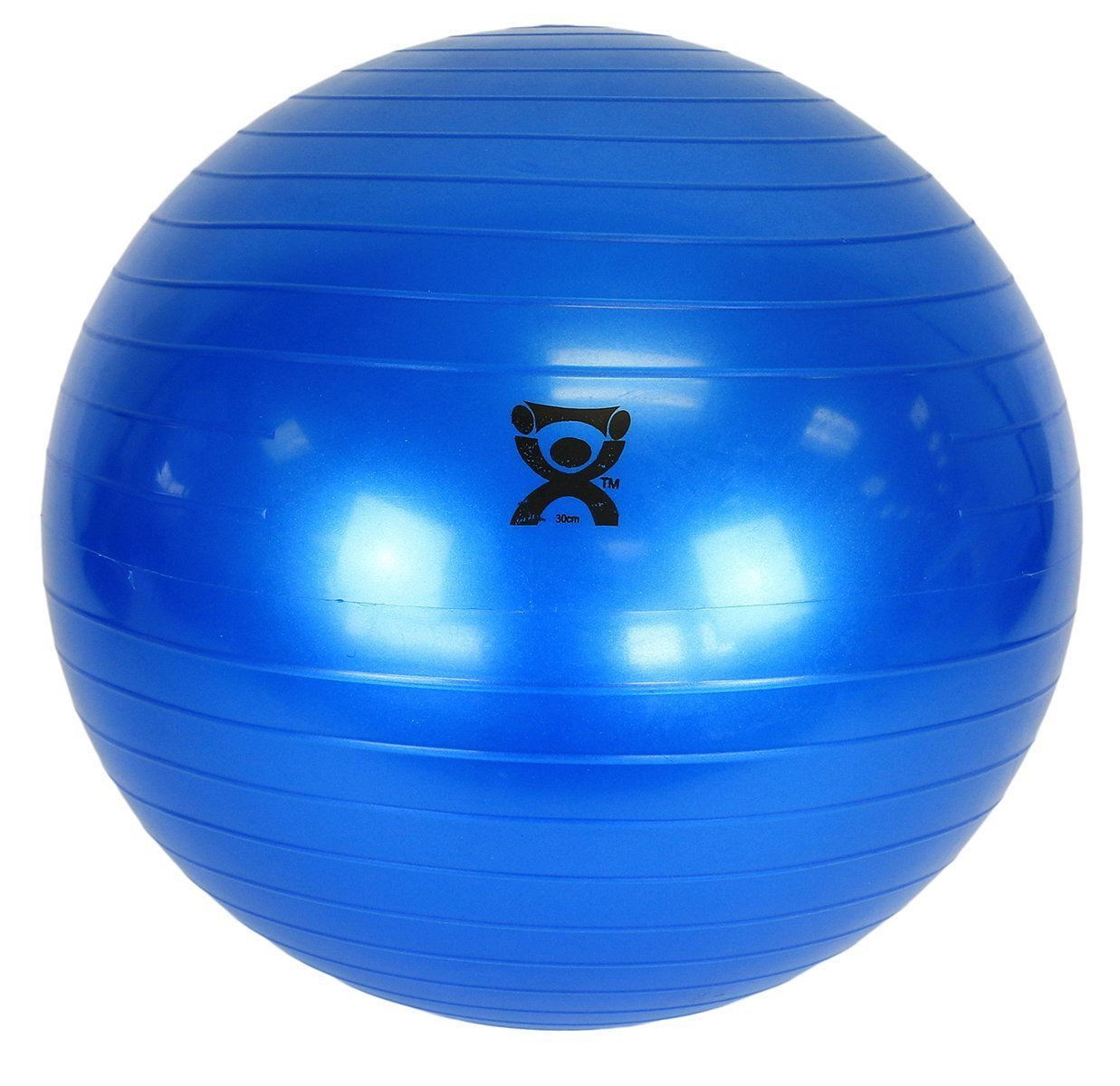CanDo Inflatable Exercise Ball with Ribbed Non-slip Vinyl Surface in Blue Color (12 Inch)