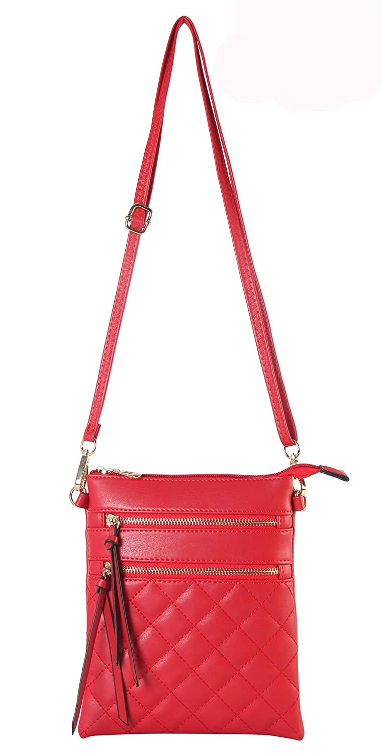 bba34cb4bff3 Diophy PU Leather Quilted Pattern Front Double Zipper Pocket Cross Body  Handbag (RED)  Handbags  Amazon.com