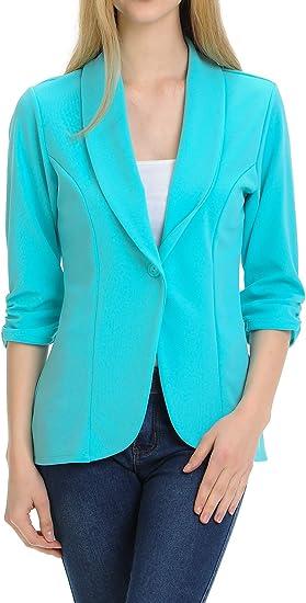 Women's Ruched Sleeve Lightweight Office Blazer Jacket