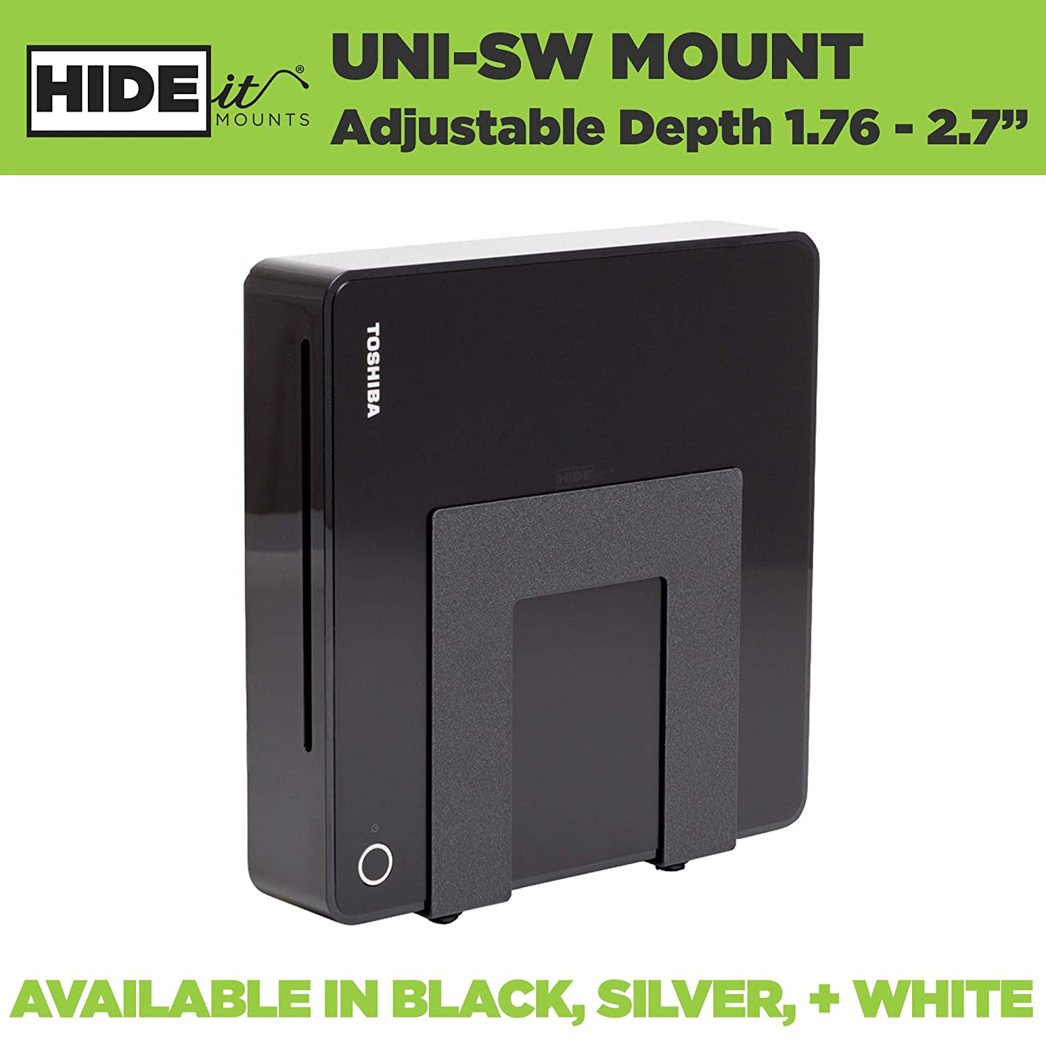 HIDEit Uni-SW (Black) Adjustable Small Device Wall Mount, Wii, Cable Box,  DVD Player