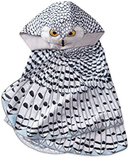 "product image for Kids' Dress Up Realistic Owl Wings with Eyes, Beak, and Hood, for Imaginative Play, Mighty 46"" Wingspan -Snowy Owl"