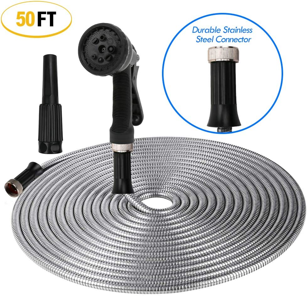 ActionEliters Metal Garden Hose, 304 Stainless Steel Metal Garden Hose with Solid Nozzle Ultra Flexible and Tangle Free Kink Free Outdoor Hose