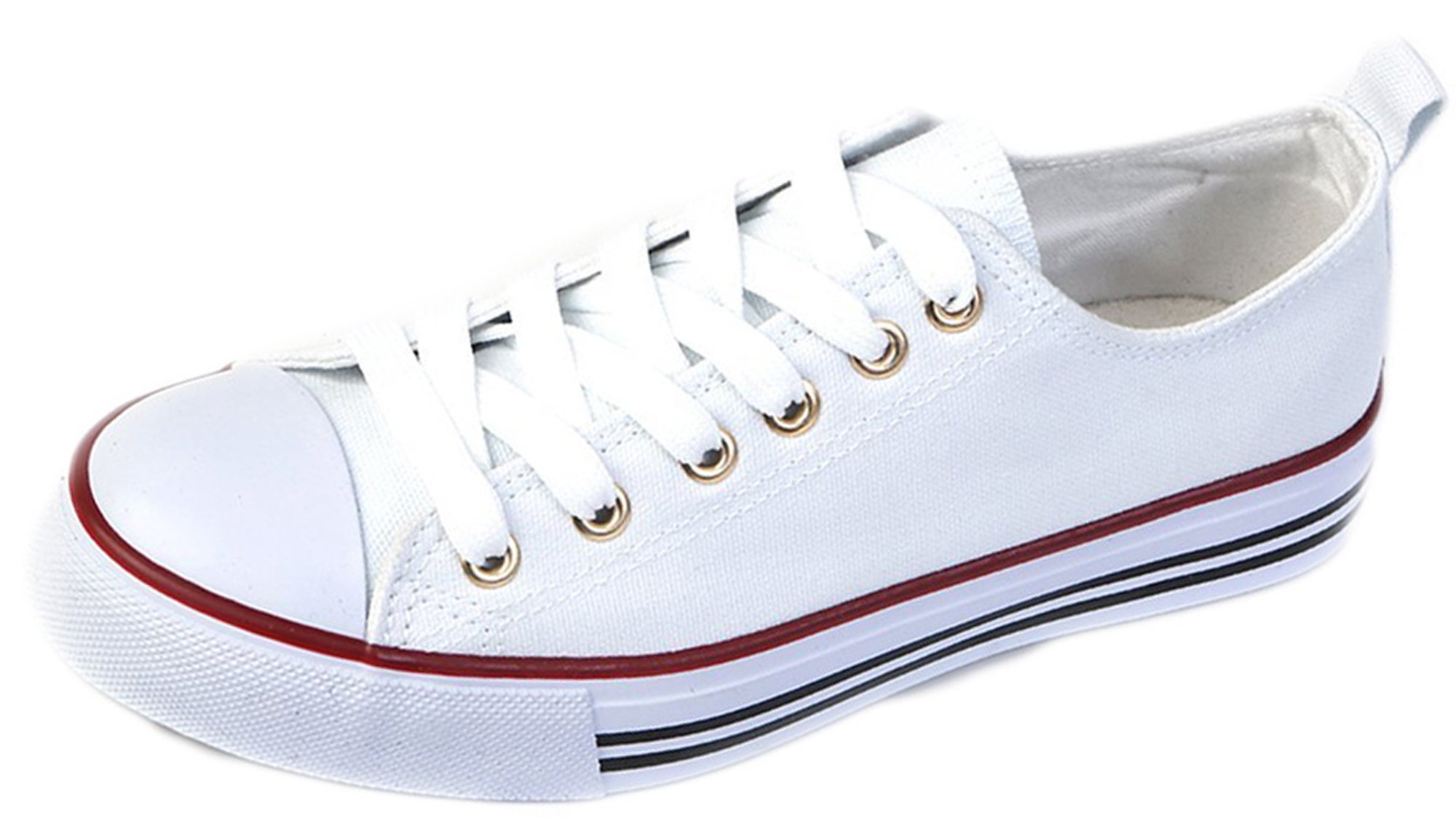 Haughty Womens Canvas Shoes Low Top Lace up Casual Sneakers Gym Trainers (6, White)