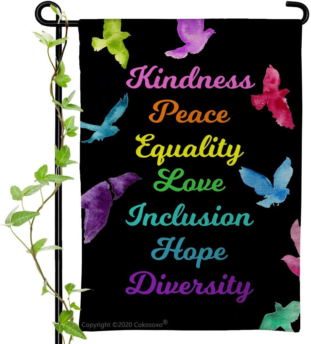 Cokosoxo Kindness Peace Equality Love Inclusion Hope Diversity Garden Flag-Colorful Peace Dove KindnessisEverything- Burlap Vertical Double Sided Sign for Yard Lawn Patio 12x18 inch