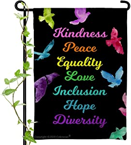 Cokosoxo Kindness Peace Equality Love Inclusion Hope Diversity Garden Flag-Colorful Peace Dove Kindness is Everything - Burlap Vertical Double Sided Sign for Yard Lawn Patio 12x18 inch