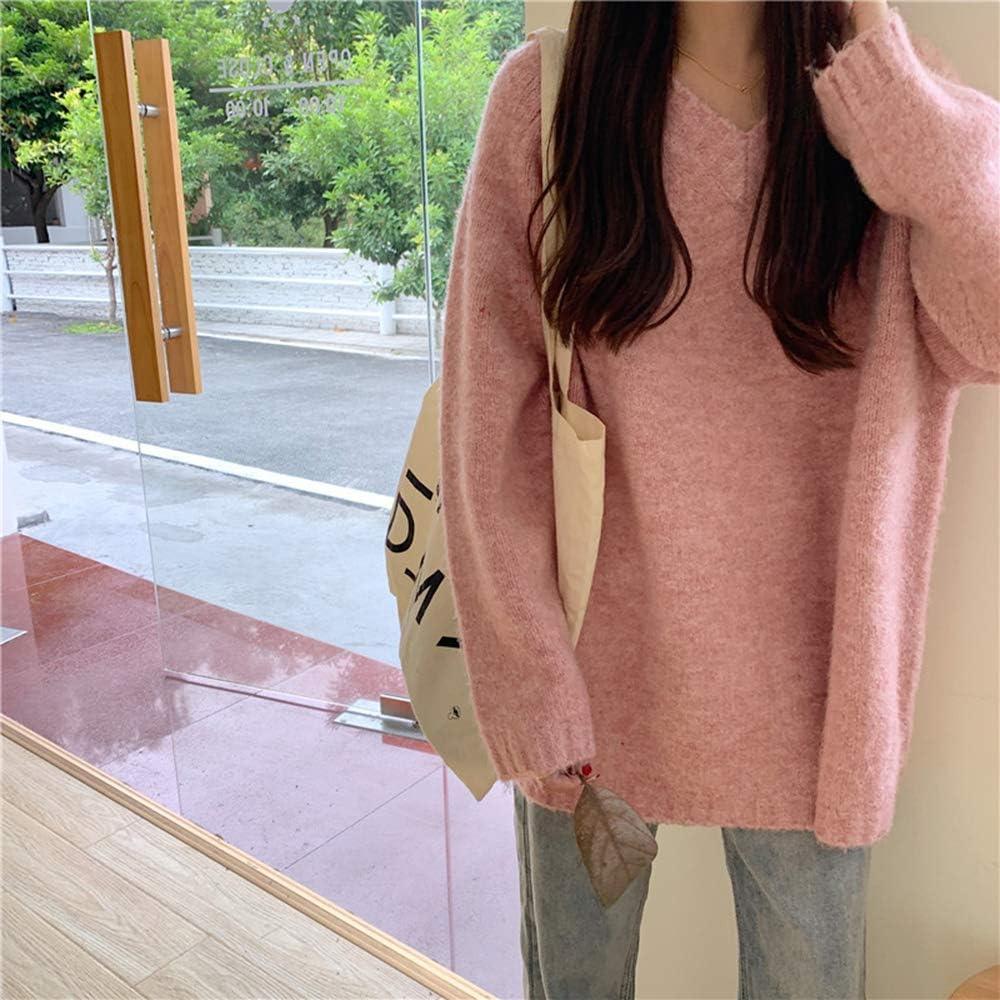 ZZAI Pullover da Donna - Maglioni Lavorati A Maglia di Media Lunghezza - Top Moda,Grey Pink
