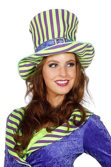 Joker Hut Streifen Zylinder Kopfbedeckung Hutmacher Karneval