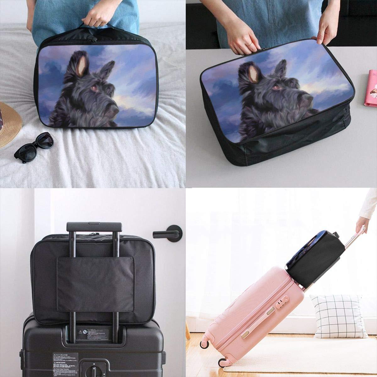 Dog Animal Lovely Scottish Terrier Travel Lightweight Waterproof Foldable Storage Carry Luggage Large Capacity Portable Luggage Bag Duffel Bag