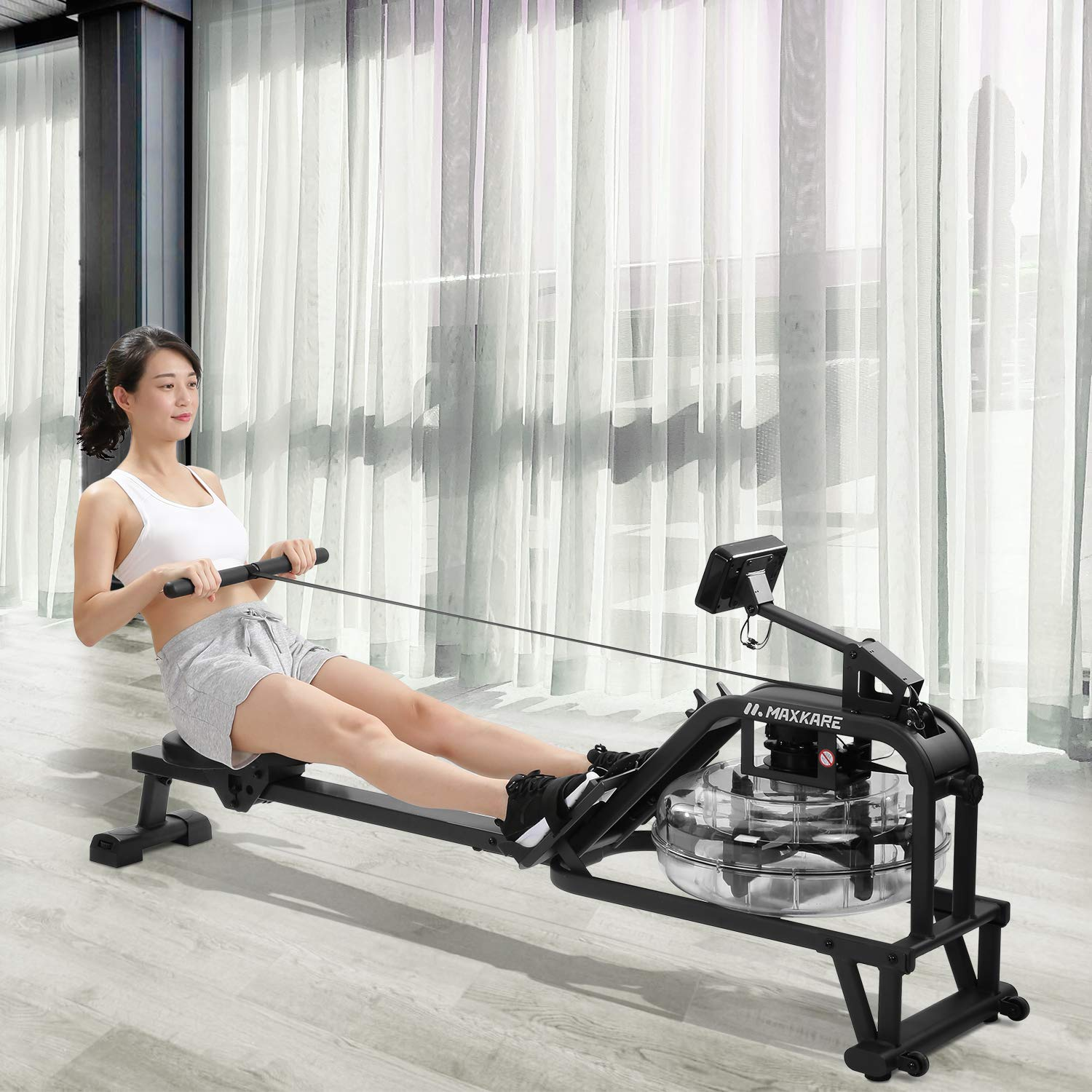 MaxKare Water Rowing Machine Water Rower with Water Resistance /& Large LCD Monitor for Home Use