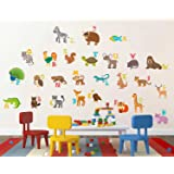 Rawpockets ABCD English Alphabets Animals Name Baby' Wall Sticker (PVC Vinyl, 105 cm x 95cm)