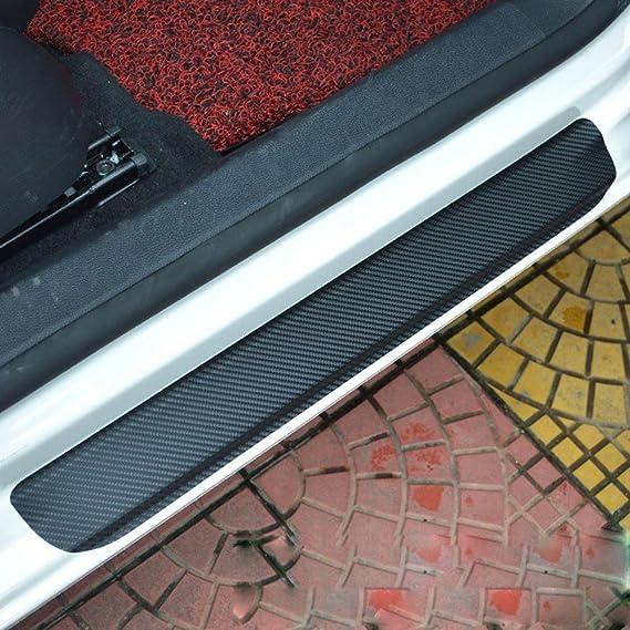 4 Pezzi 3D in Fibra di Carbonio Autoadesivo del davanzale della portiera Adesivo AntiGraffio Strisce di Protezione Nastro per Audi a4l A3 A6L Q5L Q3 X3,Rosso,A Protezione del davanzale dellauto