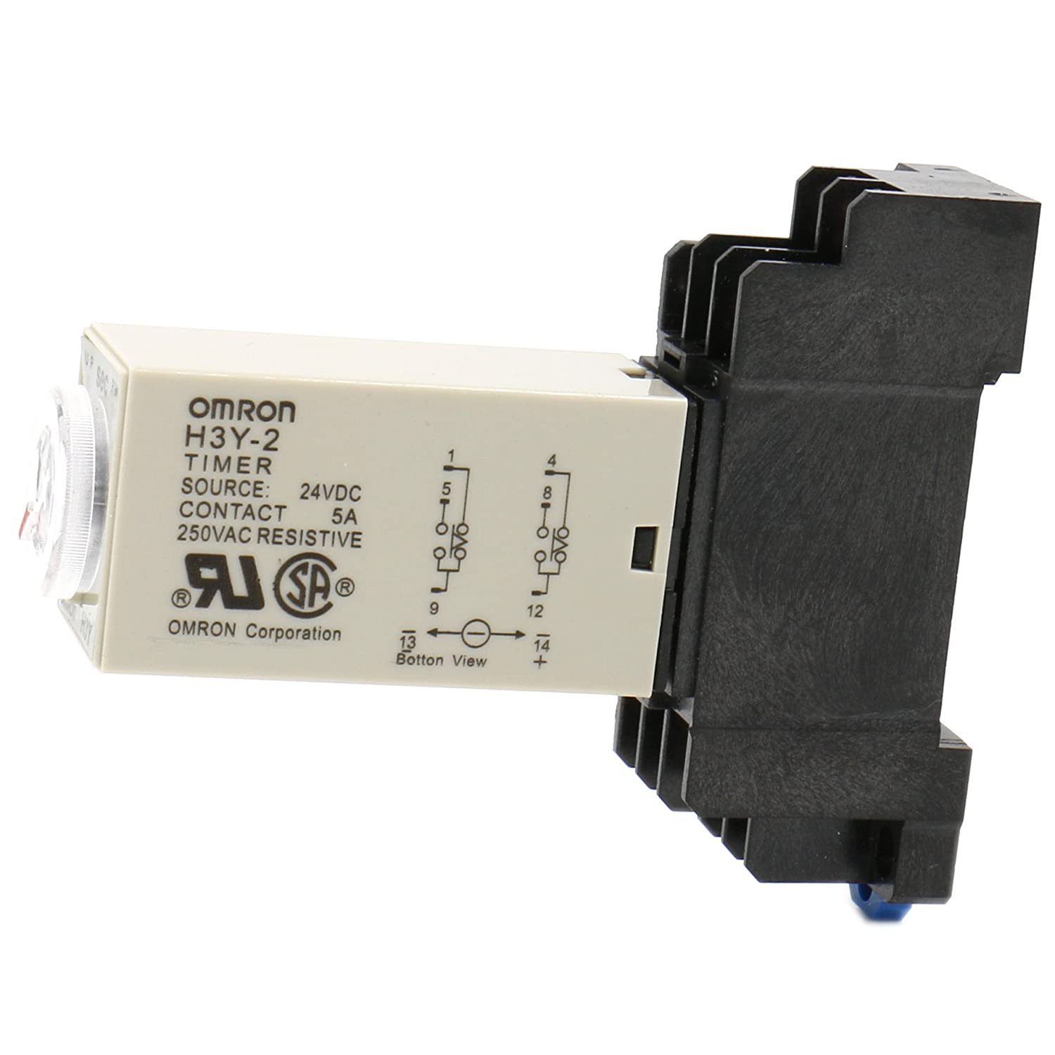 Heschen Timer Delay Relay H3Y-2 24VDC 0-60 Minute 250VAC 5A 8Pin terminal DPDT with DYF08 35mm DIN Rail Socket Base Heschen Electric Co.Ltd H3Y-2-24V-60M