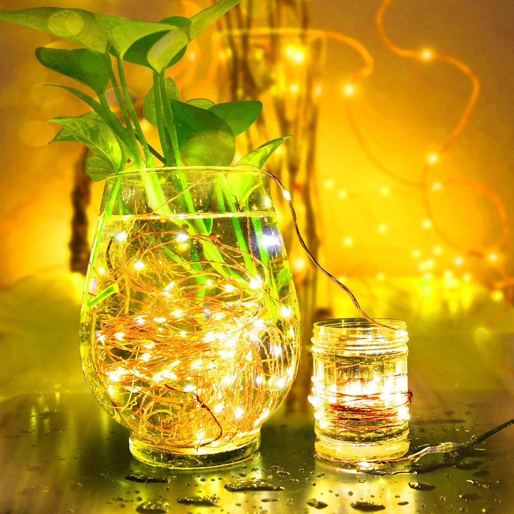 Guirnaldas con Luces Decorativas,iluminación pilas potencia,tira led bateria,8 Varios Modos de,10M100LED Impermeable,luz de navidad,guirnalda de,Ideales para Navidad,hogar,fiesta,boda,jardín,Festival