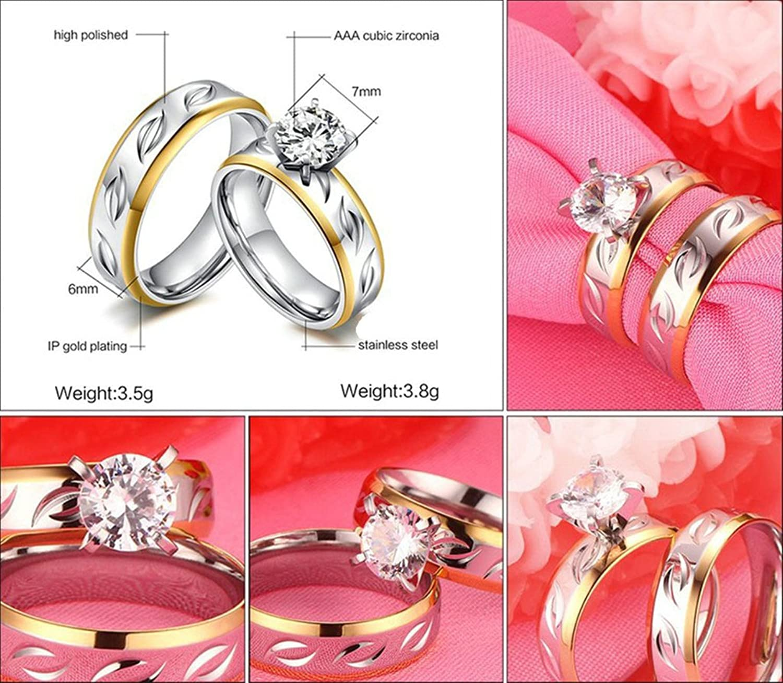 Amazon.com: KnBoB Stainlss Steel Couple Rings High Polished AAA ...
