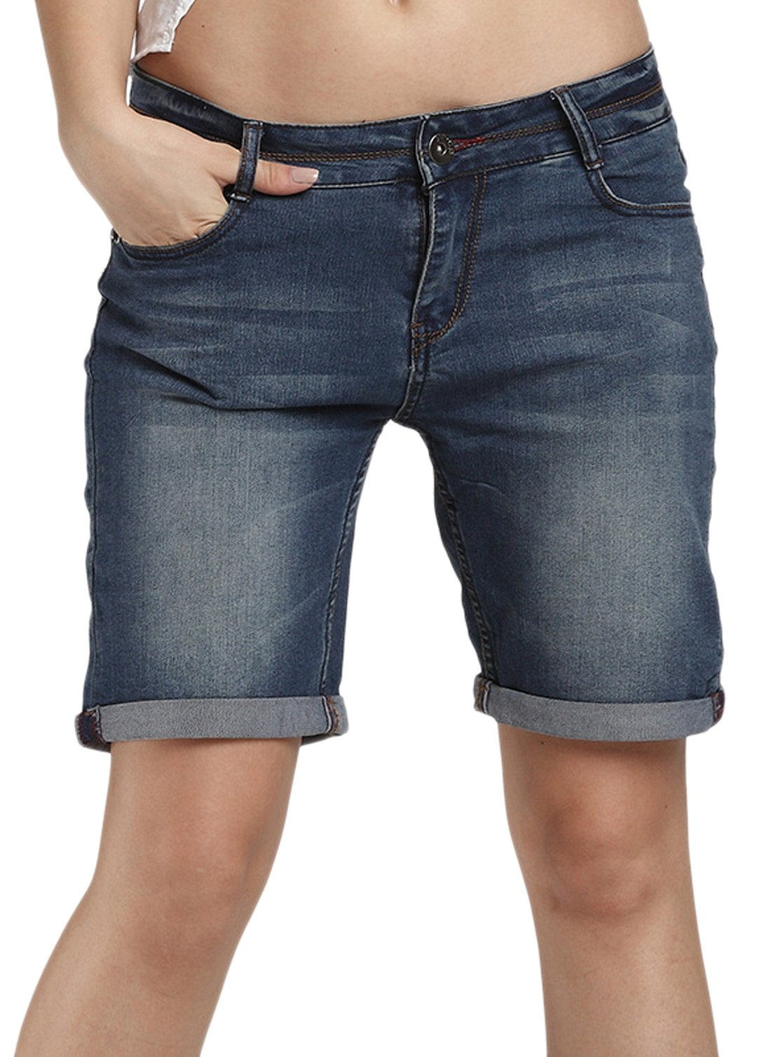 Chouyatou Women's Casual Perfectly-Shaping Stretch Denim Bermuda Shorts (Large, Blue)