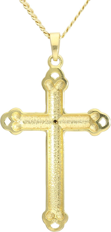 MyGold Kreuz Anh/änger Gelbgold 333 Gold 8 Karat Mit Stein 12 Zirkonia 15mm x 10mm Mini Kreuzanh/änger Kettenanh/änger Goldkreuz Kidwai A-02228-G301-CZC