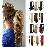 Extensiones de pelo una pieza S-noilite clip para envolver alrededor de la coleta, mágica coleta larga en lacio, ondulado, rizado, suave sedoso para mujeres