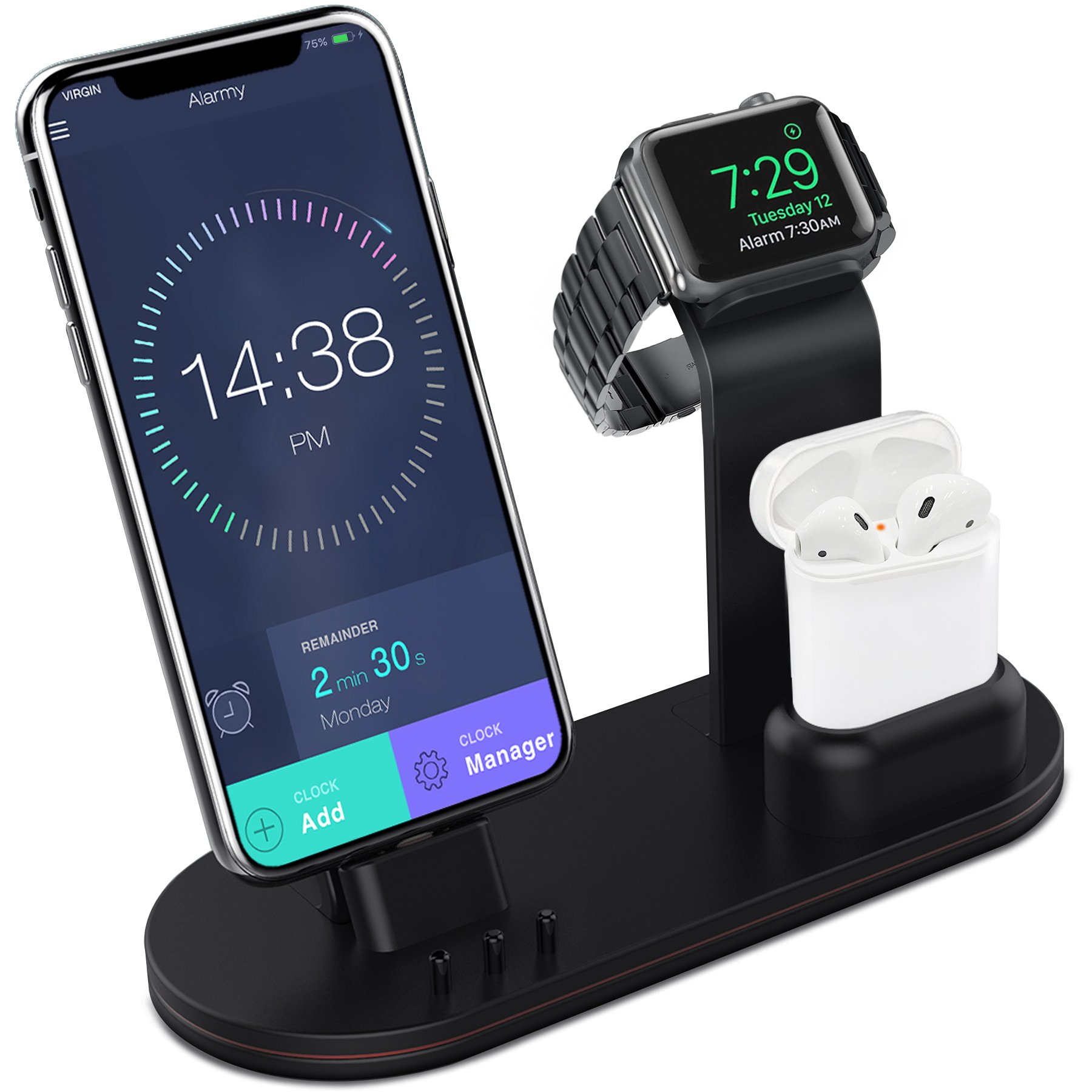 Apple Watch Stand Aluminum Apple Watch Charging Stand AirPods Stand Charging Docks Holder for Apple Watch Series 3/2/1/ AirPods/iPhone X/8/8Plus/7/7 Plus /6S /6S Plus/iPad-Black