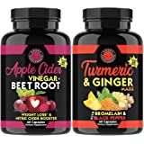 Apple Cider Vinegar + Beetroot and Turmeric & Ginger Capsules (2-Pack Bundle) by Angry Supplements, All-Natural Weight…