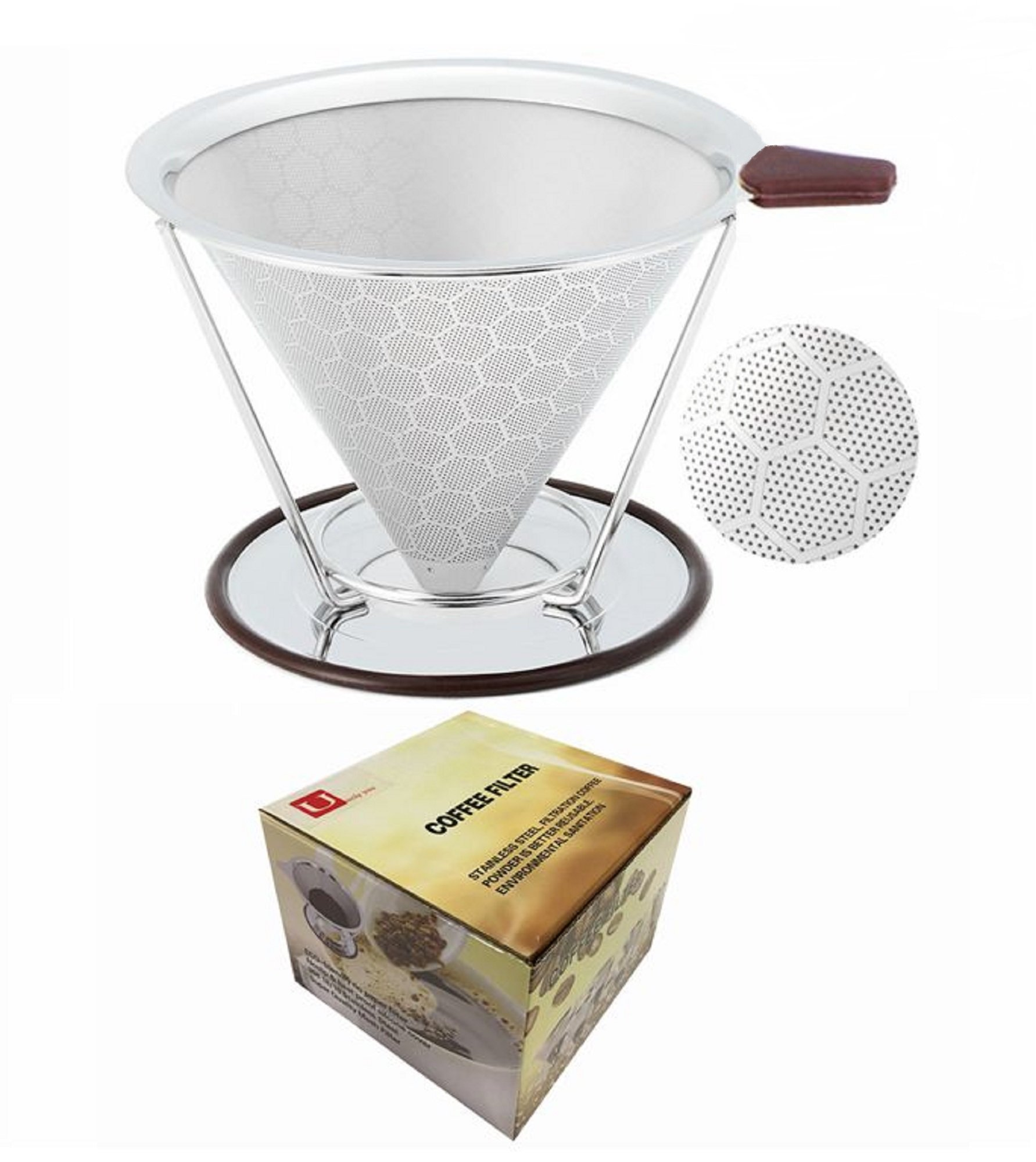 Reusable Coffee Filter Permanent Stainless Steel Coffee Dripper with Separate Stand,Double Layered Filter,Fashion Honeycomb Design,Pour Over Coffee Dripper for 1-4 Cups by U Only You (Stainless Steel)
