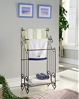kings brand furniture pewter metal free standing towel rack stand with shelf
