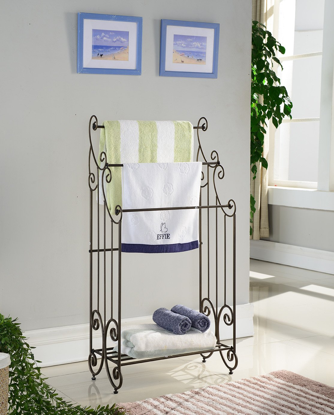 Kings Brand Furniture 1419 Metal Free Towel Rack Stand with Shelf, Pewter
