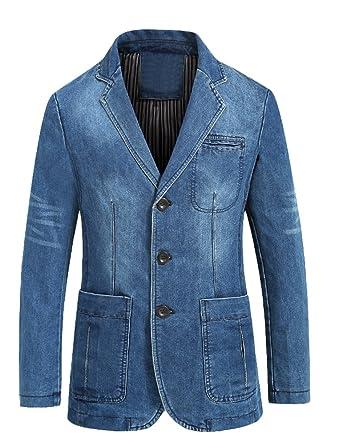 990c172e1854 Mallimoda Veste en Jean Homme Slim Fit Blazer Casuel Blouson à Manches  Longue  Amazon.fr  Vêtements et accessoires