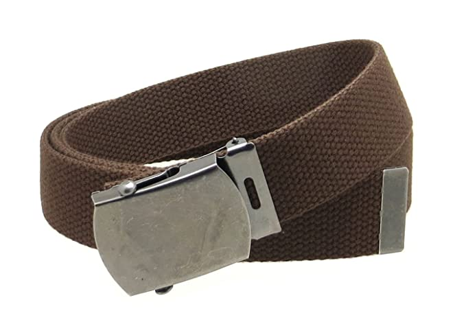 bdcfe27e012 Canvas Web Belt Military Style Antique Silver Buckle Tip Solid Color  50 quot  Long (