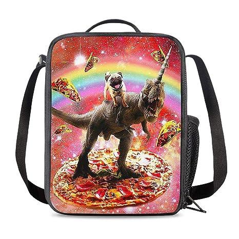 Amazon.com: PrelerDIY Funny Galaxy Pug Dinosaur Bolsa de ...