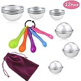 Buluri 12 Stück Badebombe Formen in 3 Größe mit 5 Stück Löffel Set und eine Tasche, Soap Making Kits Bälle Form Set für DIY handgemachte Badekugeln und Seifen