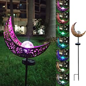 Gonggood Solar Light Moon Crackle Glass Globe Outdoor Decorative Moon Molded RGB Multi-Color Changing LED Metal Stake Christmas Lights for Garden Yard Patio Lawn (1 Pack-Multicolor Changing-Moon)