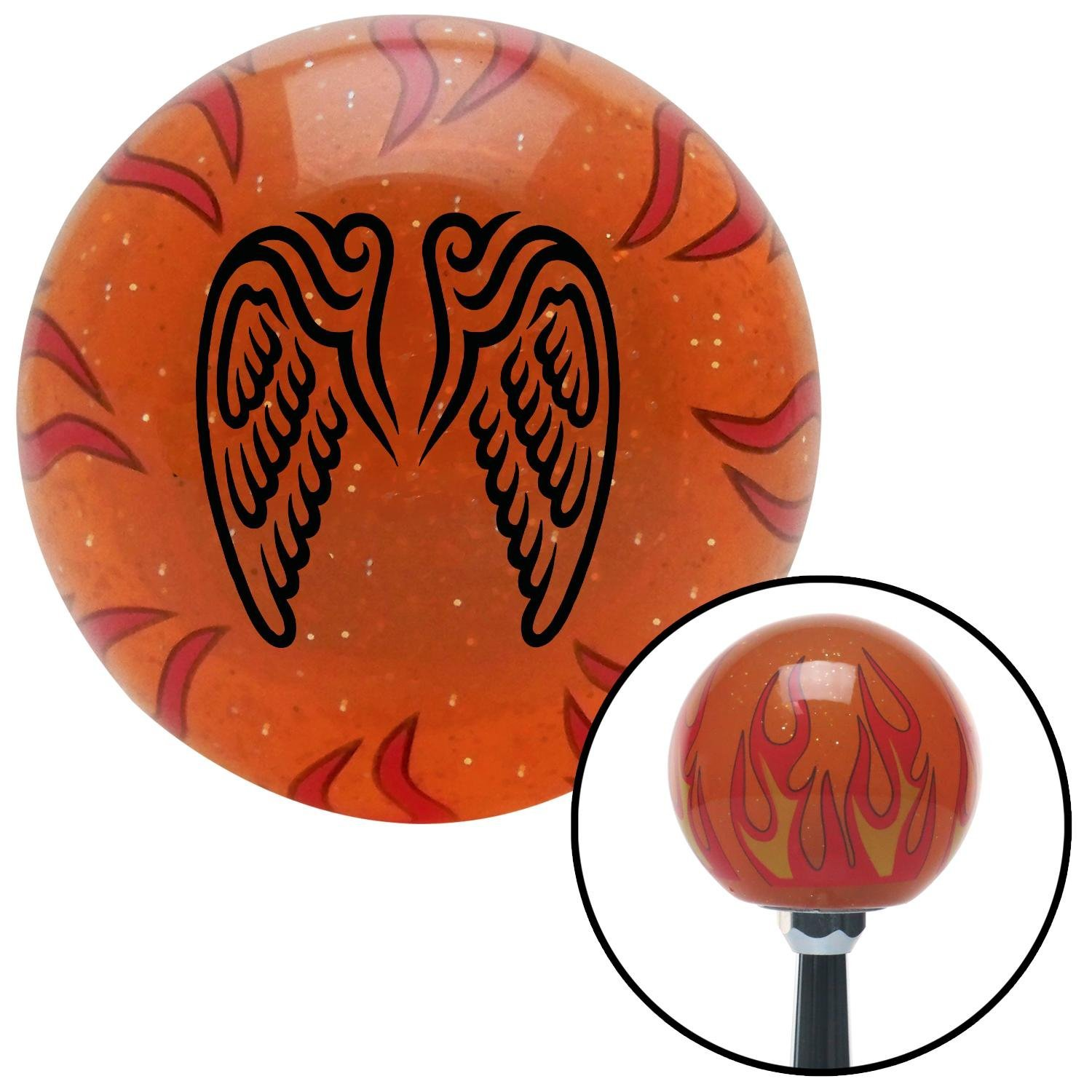 Rising Sun Rectangle American Shifter 243639 Red Flame Metal Flake Shift Knob with M16 x 1.5 Insert