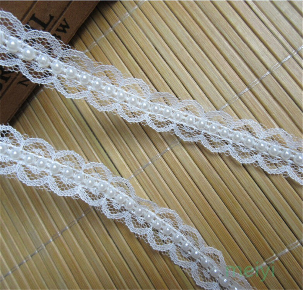 1 Yd Nylon Pearl Beaded Lace Trim Ribbon Applique Sewing Craft Crochet Trimmings