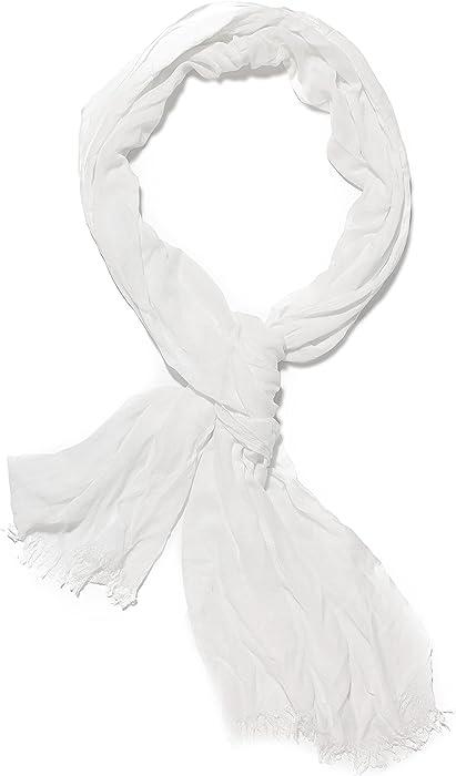 310b0cf67 Amazon.com: Ladies Cotton Gauze Scarf Crinkle Soft Shawl Wrap Fashion  Scarves For Women (white): Clothing
