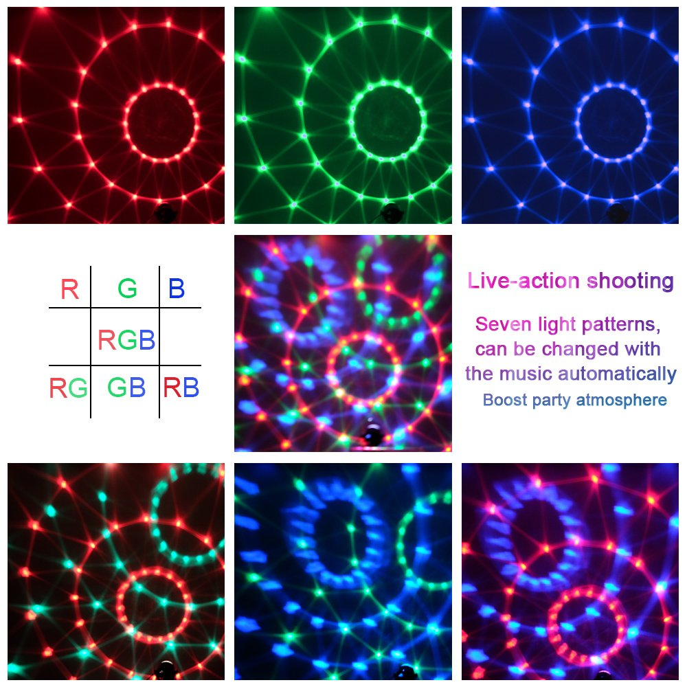 Party Supplies Disco Ball DJ Lights - Sound Activated LED lights with Remote Control RGB Strobe Lamp Stage Light for Home Dance Birthday Bar Karaoke Wedding Show by BOOMRO (Image #2)