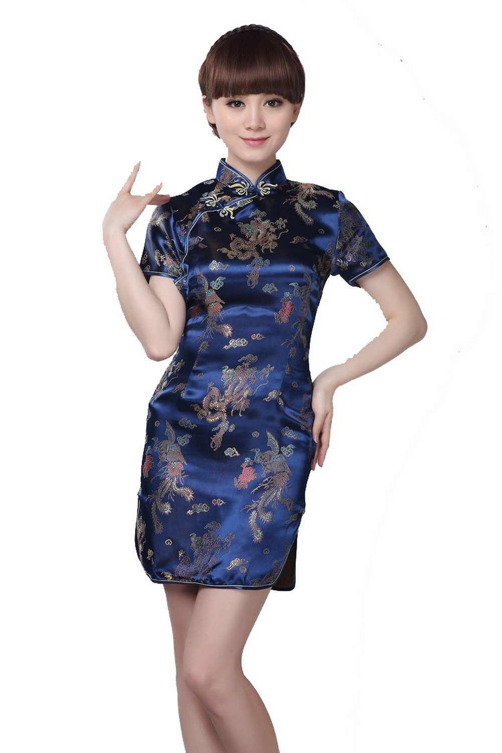 YueLian Women's Chinese Short Cheongsam Qipao Dress Navy (China M= US 4)
