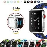 Chok Idea – Bracelet sport de rechange en silicone souple avec coque transparente en TPU pour Apple Watch Serie 1, Series 2, Series 3, 38 mm/42 mm, 9 couleurs au choix