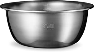 New Design Stainless Steel Mixing Bowl - 9.5qt - Flat Bottom Extra Wide Non Slip Base, Retains Temperature, Dishwasher Safe - By Bovado USA
