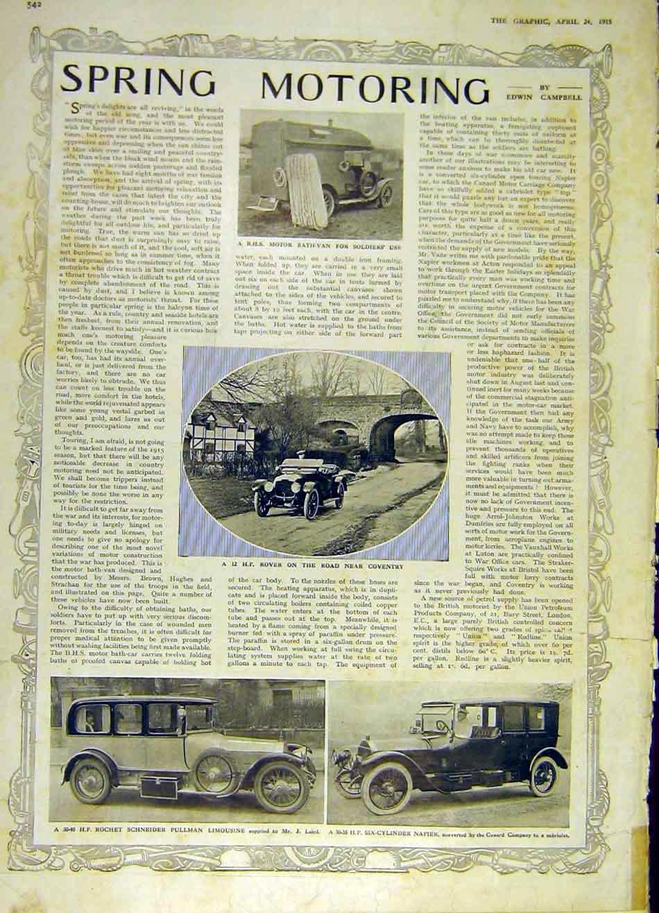 Bhs Motor Bath-Van Soldier Ww1 Rover Pullman Napier Old-print