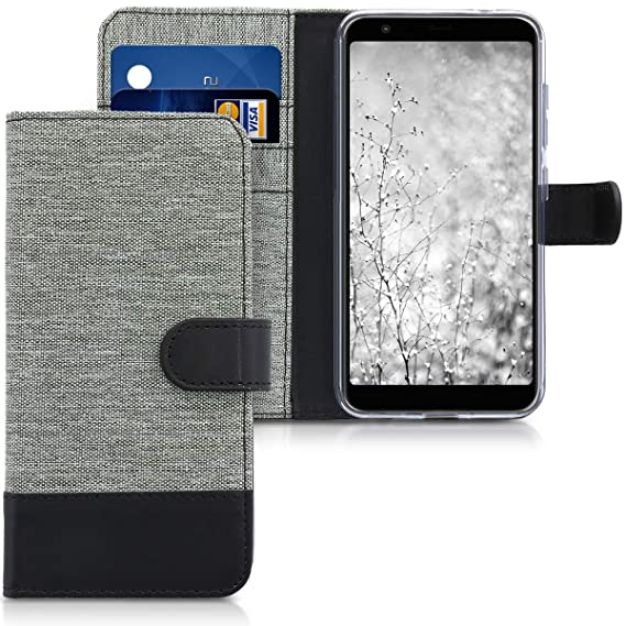 purchase cheap cd562 6d3bb kwmobile Wallet Case for Asus Zenfone Max Plus (M1) - Fabric and PU Leather  Flip Cover with Card Slots and Stand - Grey/Black
