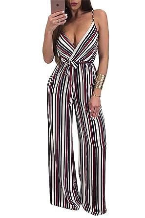 daa78bb1c7 Amazon.com  Women Summer Strap Deep V-neck Floral Romper Jumpsuit Bandage  Party Club Dress  Clothing
