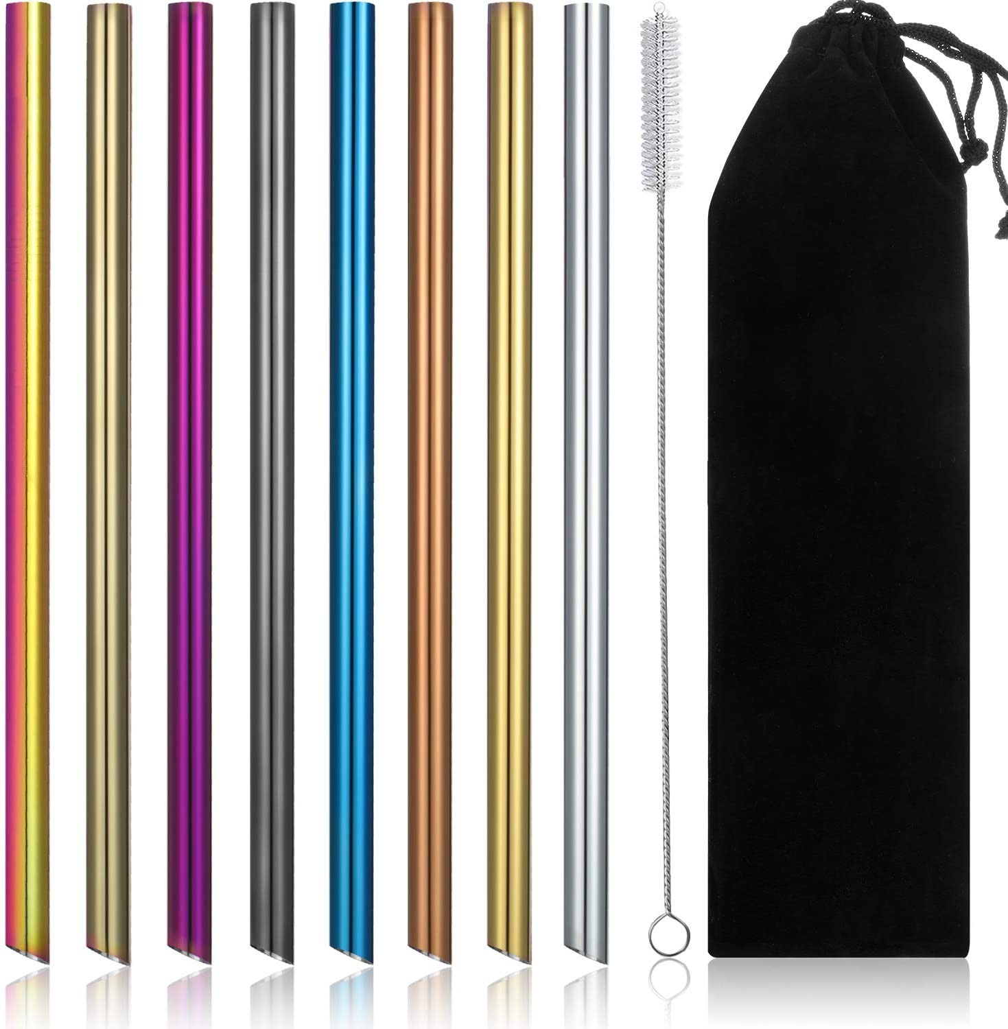 Jumbo Wide Reusable Straws Metal Straw 1//2 Inch Wide Stainless Steel Straws with 1 Brush 8 Pieces Reusable Boba Straws and Smoothie Straws