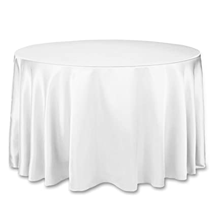Superb Linentablecloth 108 Inch Round Satin Tablecloth White Beutiful Home Inspiration Ommitmahrainfo