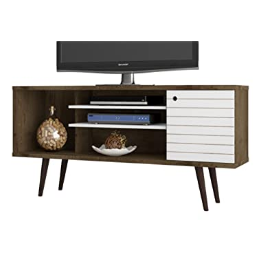 Manhattan Comfort Liberty Collection Mid Century Modern TV Stand With One Cabinet and Three Open Shelves and One Cubby With Splayed Legs, White/Wood