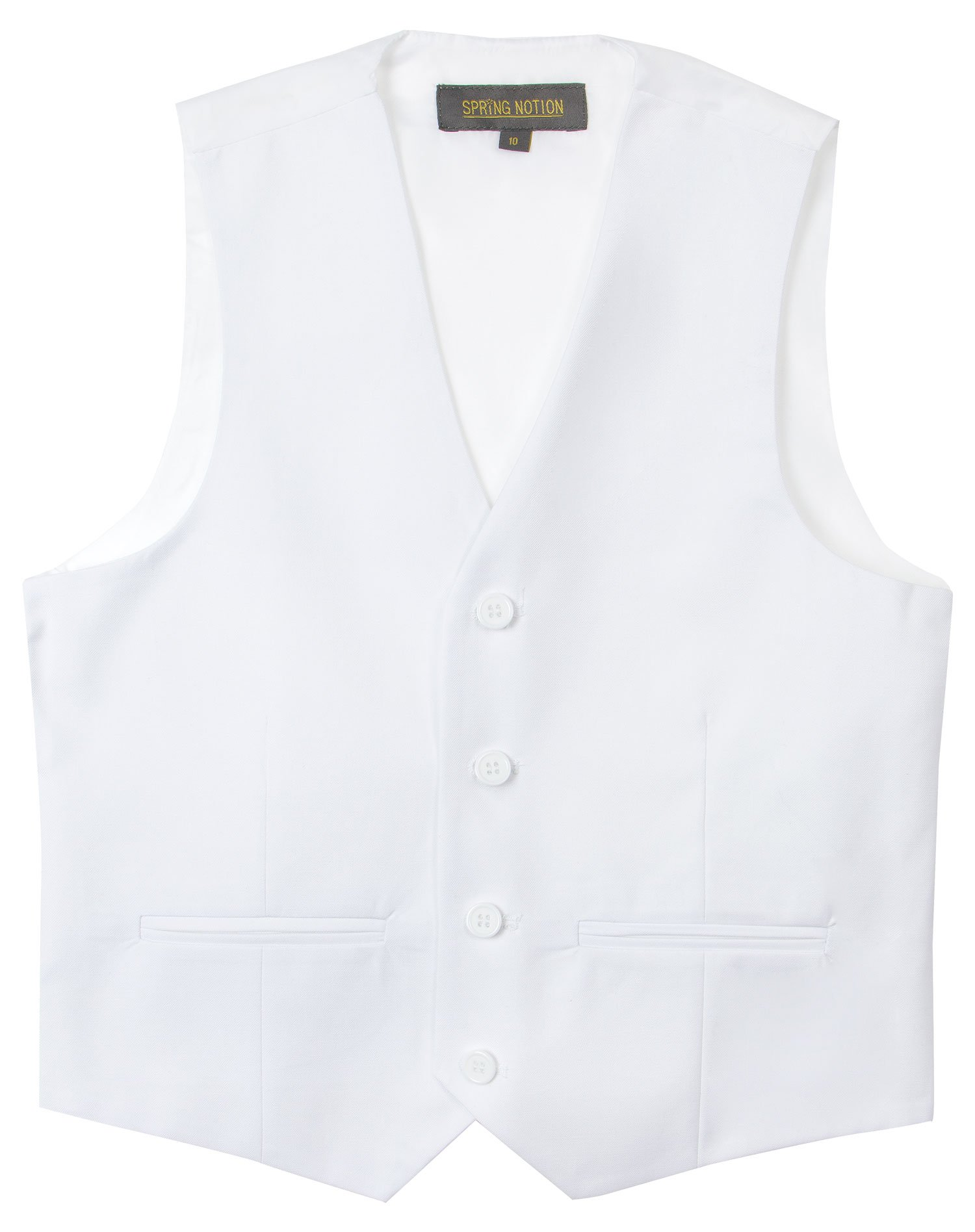 Spring Notion Big Boys' Two Button Suit 10 White Vest